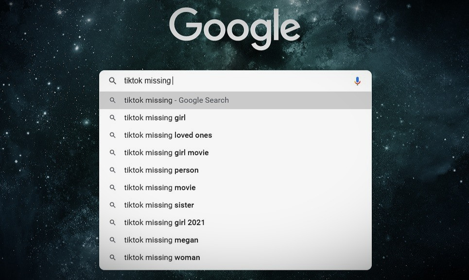 Google search of TikTok for missing persons