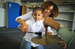mom boy cymbal