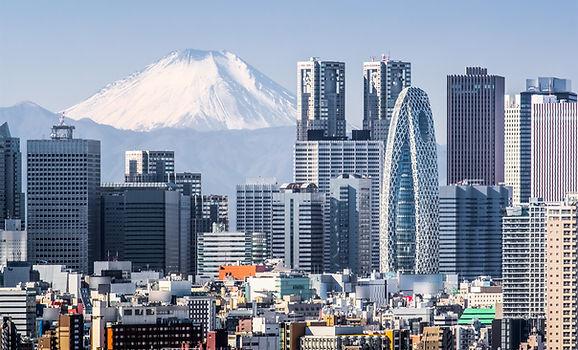 Tokyo Shinjuku building and Mt. Fuji at