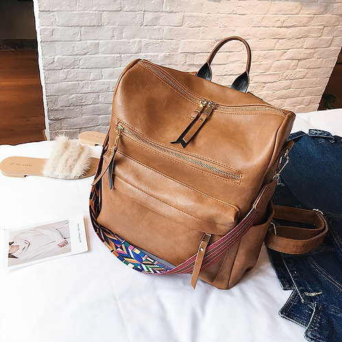 Retro Leather Travel Backpack