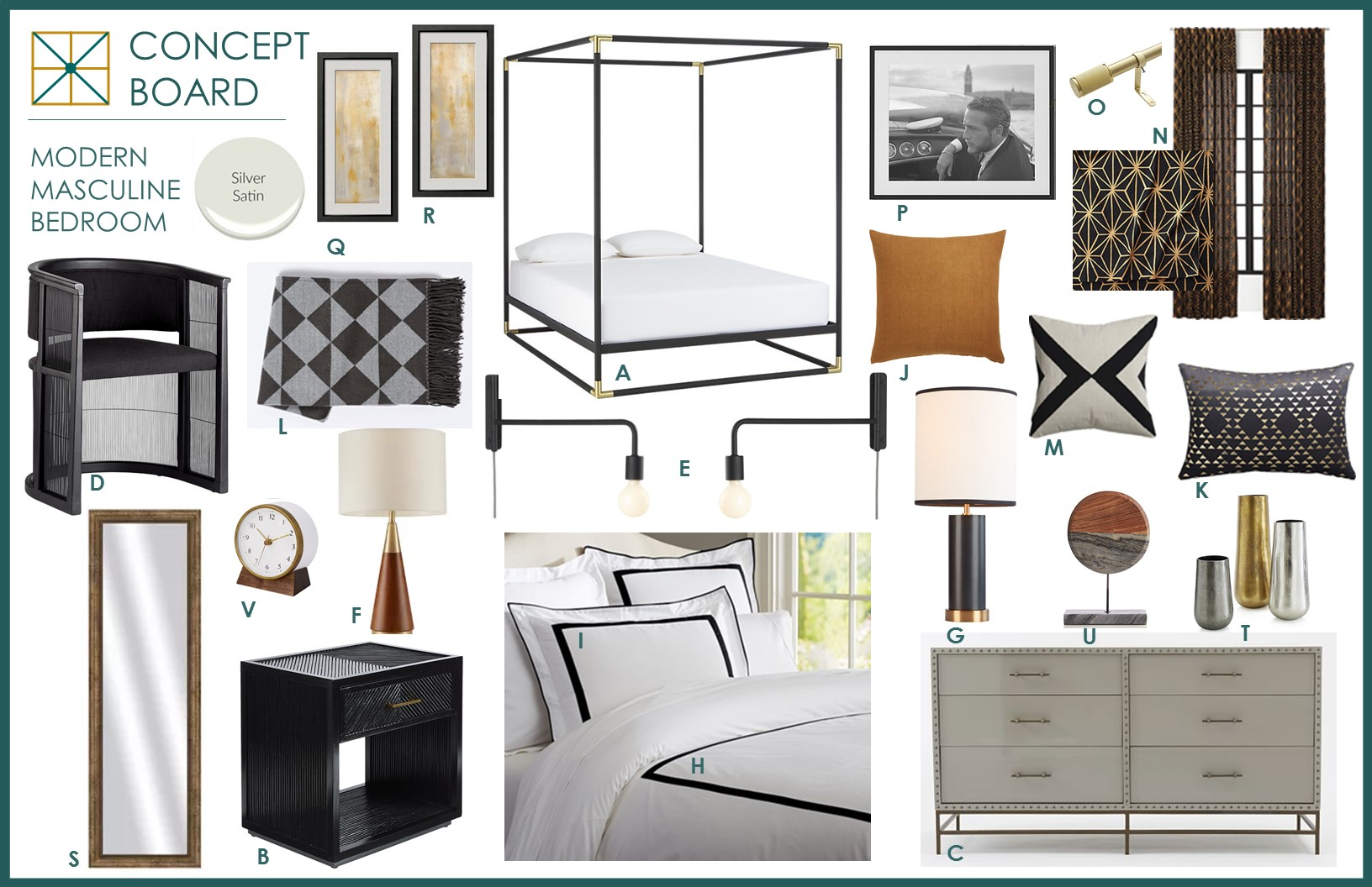 Modern Master Bedroom Concept Board