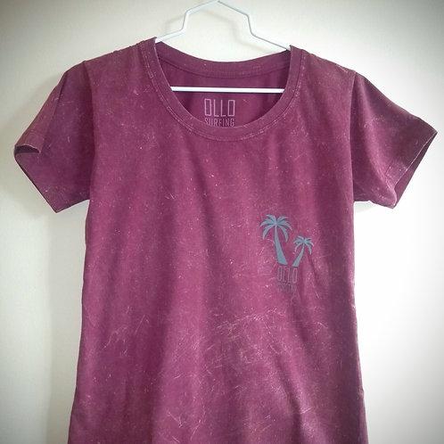 Camiseta Feminina Marmorizada Vinho Coqueiro