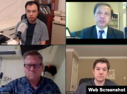 Các ông Trịnh Hữu Long, Nguyễn Đình Thắng, Phil Robertson, và Steven Adair tại buổi Hội luận trực tuyến Hạn chế và ngăn chặn tự do ngôn luận và bất đồng chính kiến trên Internet, 26-10-2020.