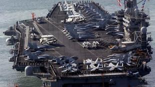 Tầu sân bay Mỹ USS Nimitz từng tham gia tuần tra vì tự do hàng hải ở Biển Đông vào tháng 07/2020. Ảnh minh họa, chụp gần cảng Busan, Hàn Quốc, ngày 11/05/2013.