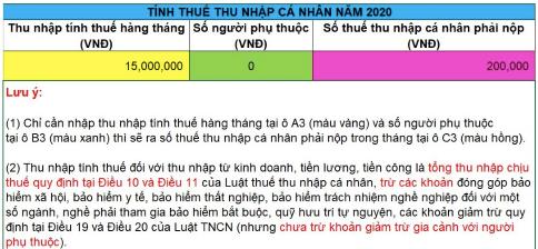 tính thuế TNCN năm 2020 theo mức giảm trừ gia cảnh mới
