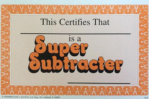 Super Subtracter Certificates