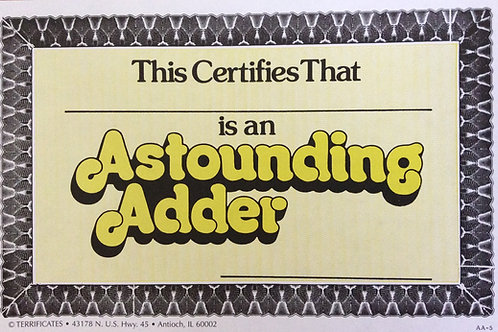 Astounding Adder Certificates