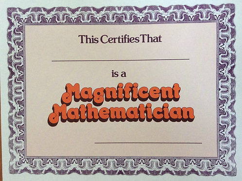 Magnificent Mathematician Certificates