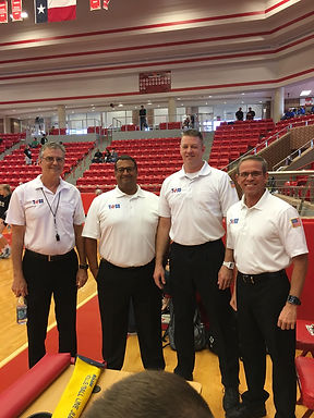 Referee Officials for 2016 Region 1 Playoff at Tiger Arena, Glen Rose, Tx. ​ Left to Right: Tim Craft, Augusto Rodriguez, Jordan Bennett, Carmelo Pastrana