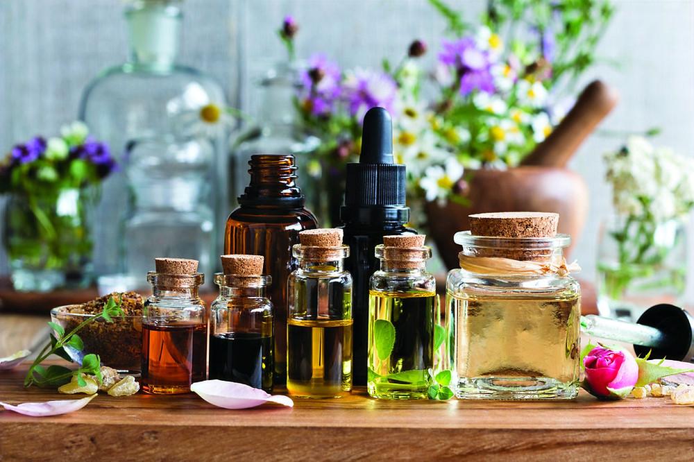óleos essenciais sao extraidos de diversas fontes vegetais