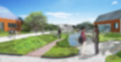 Chatham University Academic Buildings and Bridge Rendering