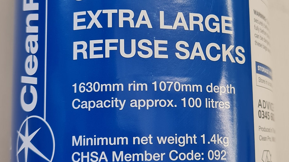 50 extra large bin bags (100ltr)