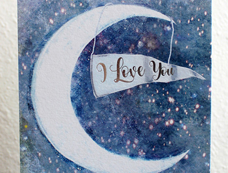 Moon and Back Greeting Card Design