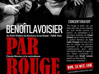 """""""Par rouge le soleil"""" de Benoit Lavoisier avec ses musiciens Juan Carlos Principal-guitare"""