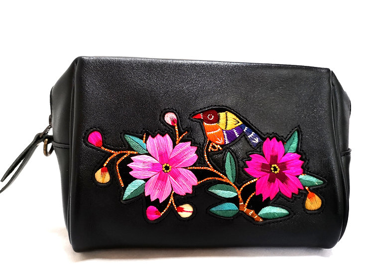 Traditional Chinese Leather Embroidered Handbag