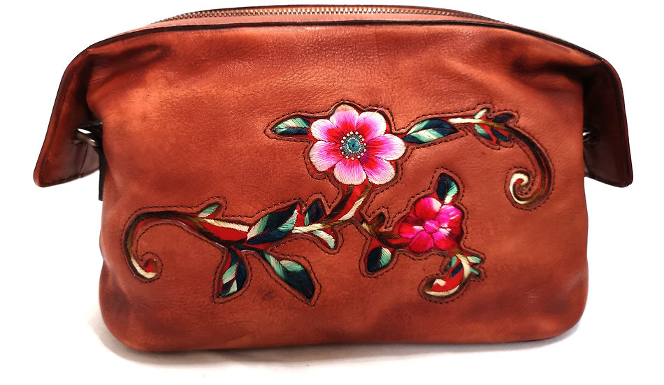Traditional Chinese Embroidered Leather Handbag
