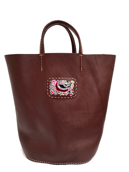 Traditional Chinese Leather Embroidered Hangbag