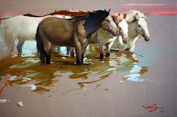 Horses, animalism, oil, canvas