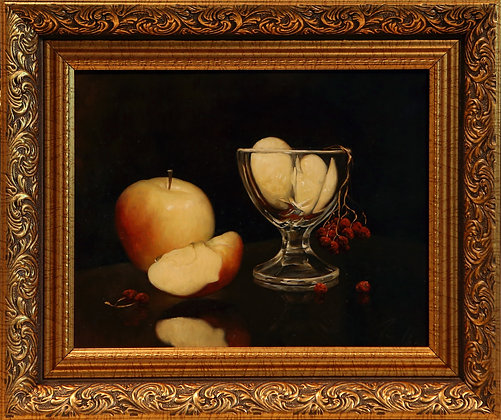 Still-life with an apple, oil, canvas