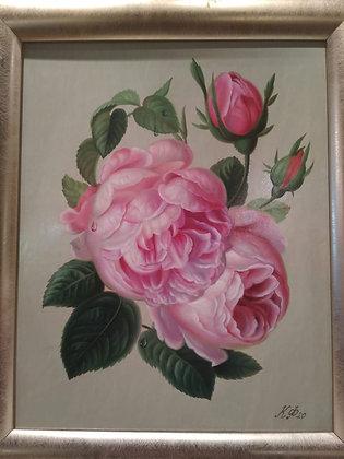 Roses, still-life, canvas, oil