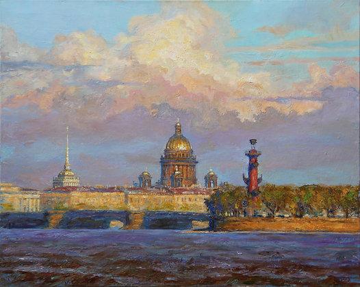 St.Petersburg, cityscape, oil, canvas