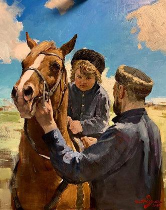 Cossack, oil, canvas