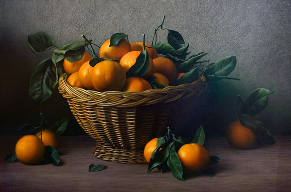 Still life with tangerines, oil, canvas