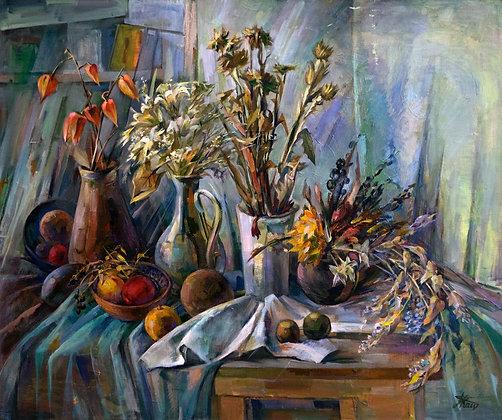 Autumn sense, still-life, oil, canvas