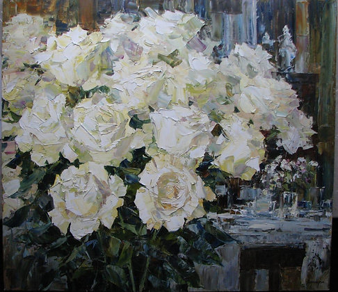 White roses, oil, canvas, 80x90