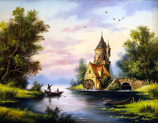 Dutch landscape, oil, canvas