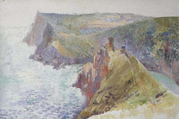 Mountains and sea, landscape, carton, oil