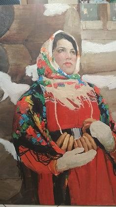 Bubliki (bagels), genre painting, oil, canvas