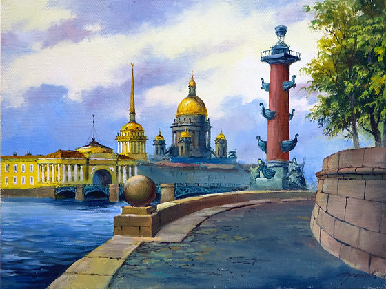 Strelka of Vasilievsky island, Saint Petersburg, landscape