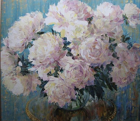 White peonies, still-life, oil, canvas