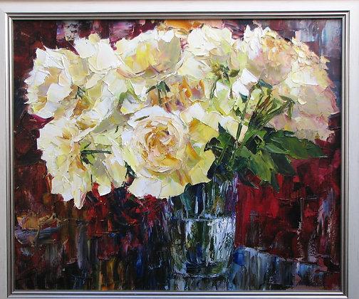White roses, still-life, oil, canvas