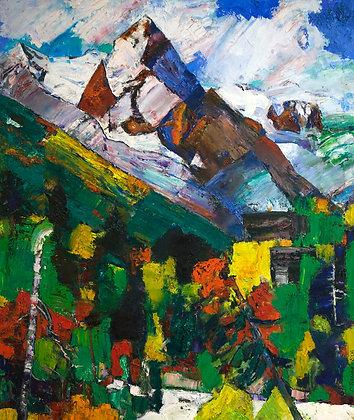 Mountain Of Caucasus, landscape, oil, canvas