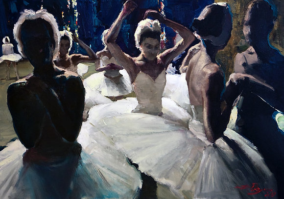 Ballerinas, genre painting, oil, canvas