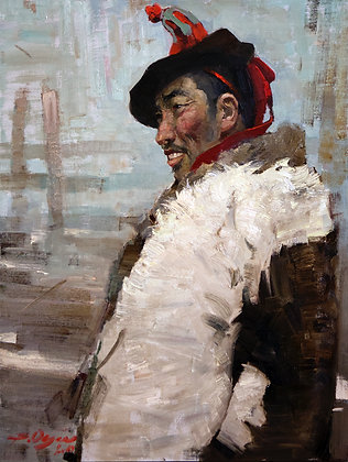 Mongol, portrait, oil, canvas
