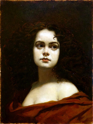 Girl, portrait, oil, canvas
