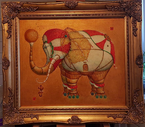 Elephant, surrealizm, oil, canvas