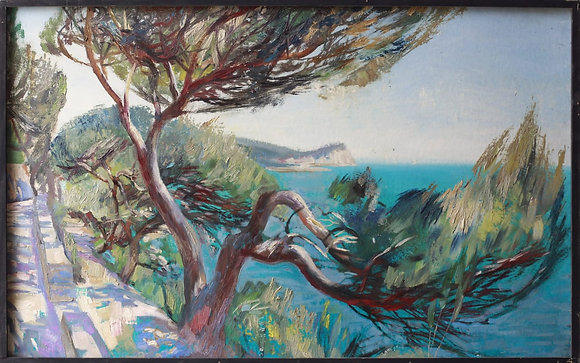 Pine with sea view, landscape, oil, carton