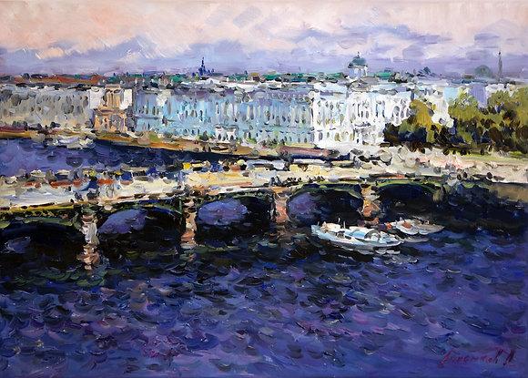 Neva river, St.Petersburg, landscape, oil, canvas