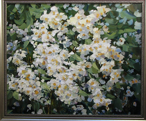 Small white flowers, still-life, oil, canvas