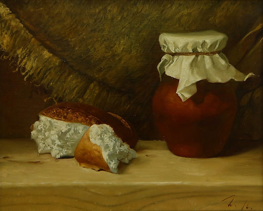 Still-life with a pot, oil, canvas