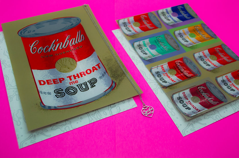 Cock'nballs Soup 5x7in Print (optional Sterling Silver Necklace)
