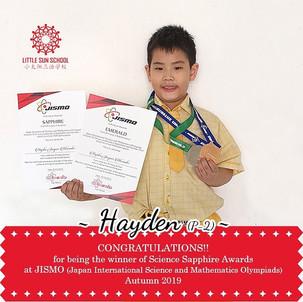 Hayden (P2- Science Sapphire Medal)