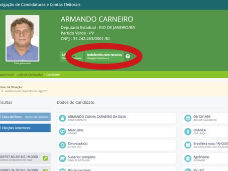 Ficha-suja, Armando Carneiro entra com recurso contra indeferimento