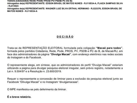 URGENTE: Justiça Eleitoral suspende a divulgação de pesquisas falsas em Macaé