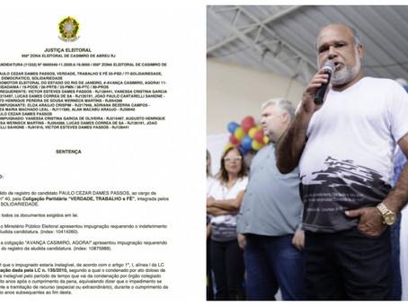 Casimiro: Justiça Eleitoral indefere candidatura de Paulo Dames