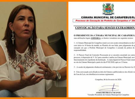 Julgamento da cassação da prefeita de Carapebus acontece nesta quarta-feira